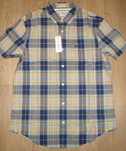Original Penguin Casual Orange Navy Check Lightweight Summer Short Sleeve Shirt