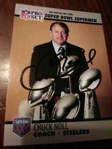 Pittsburgh Steelers Coach Chuck Noll Autographed Card with Cert of Authenticity