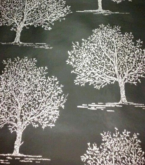 Black Sparkle Silver Glitter Tree Wallpaper By Decorline Dl40591 Ebay