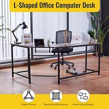 L Shaped Office Desk W Tower Shelf Cable Management 47x19 66x19 Sides Walnut Hom