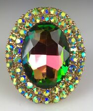 """Big & Showy! 1 1/2"""" Green, Pink, Blue Crystal Ring, Drag Queen, Evening, Stage"""