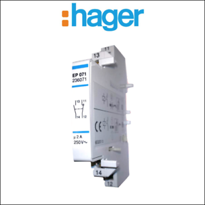 Contact auxiliaire 2A 250V contact 1F HAGER EP071 1O bornes vis