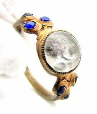 LATE/POST MEDIEVAL BRONZE RING W/ 6 STONE/GEM & ROSE - WEARABLE VERY RARE - F216