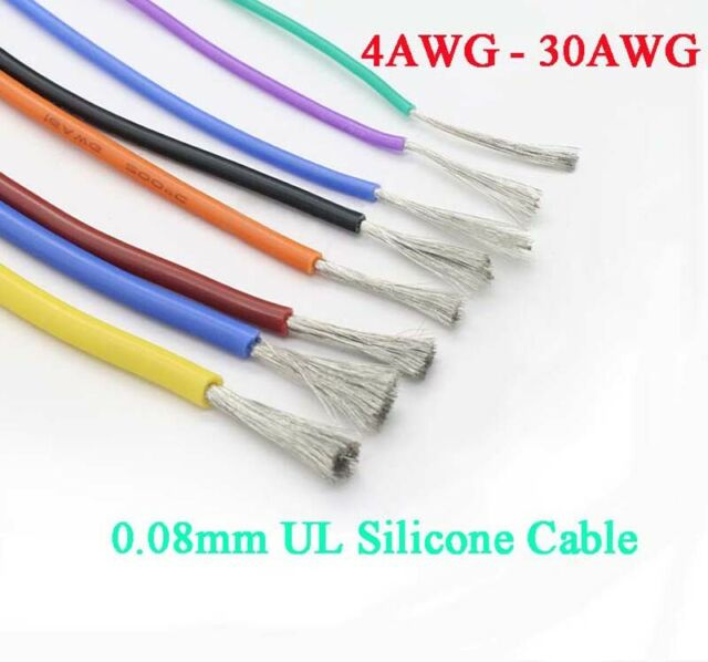2-Cores 10 AWG 24 AWG UL Silicone Flexible Stranded Cable 0.08mm RC Model Wire