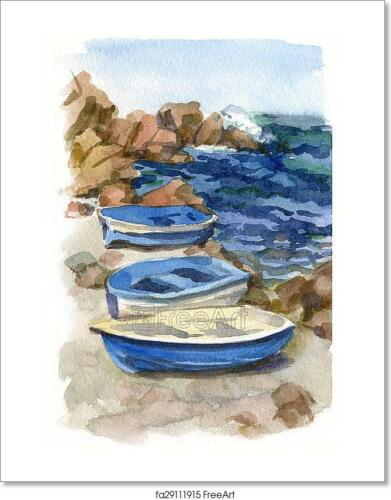 Home Decor Poster Watercolor Seascape With Boats Art//Canvas Print Wall Art
