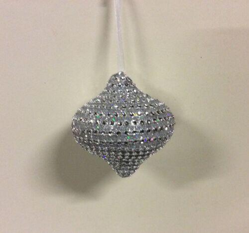 Neu Entwurf Set 6 Silber Strass Zwiebel 90mm Weihnachtsdekorationen