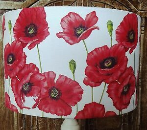 Poppy lamp shade lampshade shabby chic red white floral flowers free image is loading poppy lamp shade lampshade shabby chic red white mozeypictures Choice Image