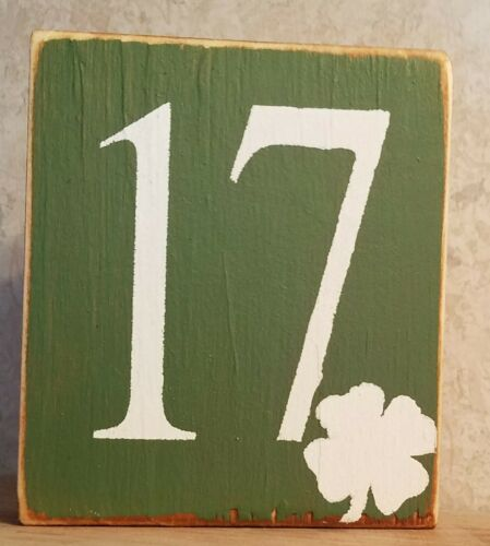 "ST PATRICKS DAY /""17/"" SHAMROCK WOOD TIER TRAY SIGN SHELF SITTER"