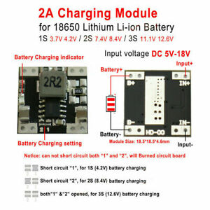 1S~3S 2A 3.7V~11.1V Lithium Li-ion 18650 Battery Charging Board Charger Module