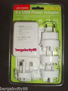 Korjo-4Port-USB-World-Travel-Adapter-Plug-US-UK-EU-AU-NZ-Japan-Pin-Phone-Charger