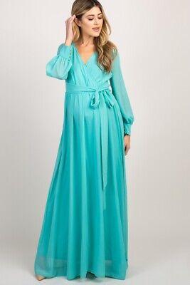 Pinkblush Mint Green Chiffon Long Sleeve Pleated Maternity Maxi Dress Size 2xl Ebay