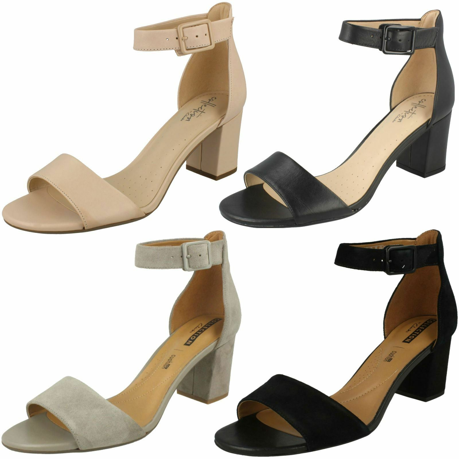 Clarks block heel women suede leather smart casual sandals ankle strap