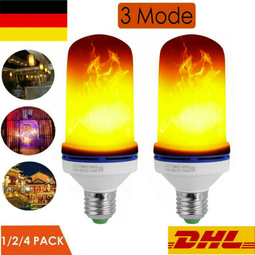 6W E27 LED Licht Fackel Feuer Lampe Flammen Effekt Glühbirne Flacker Birne Neu