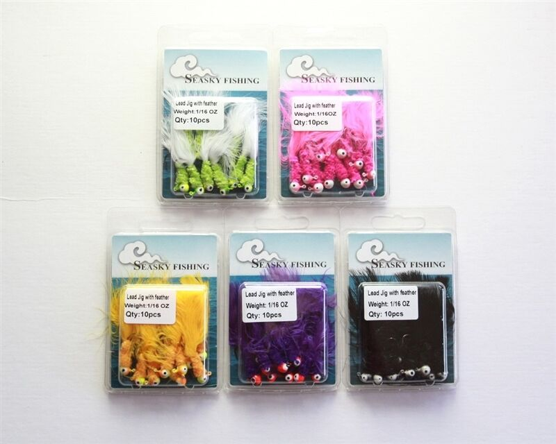 50 1 16oz NEW Marabou Crappie Panfish Jigs Fishing Lures Hooks 5 colors Lot