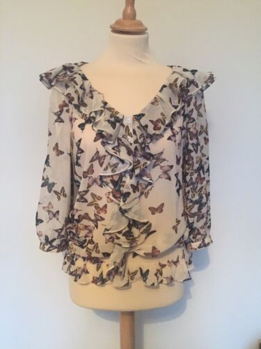 Butterfly Baker 3 Cream Ted Blouse Print Shirt 12 uk Size wOCqngI