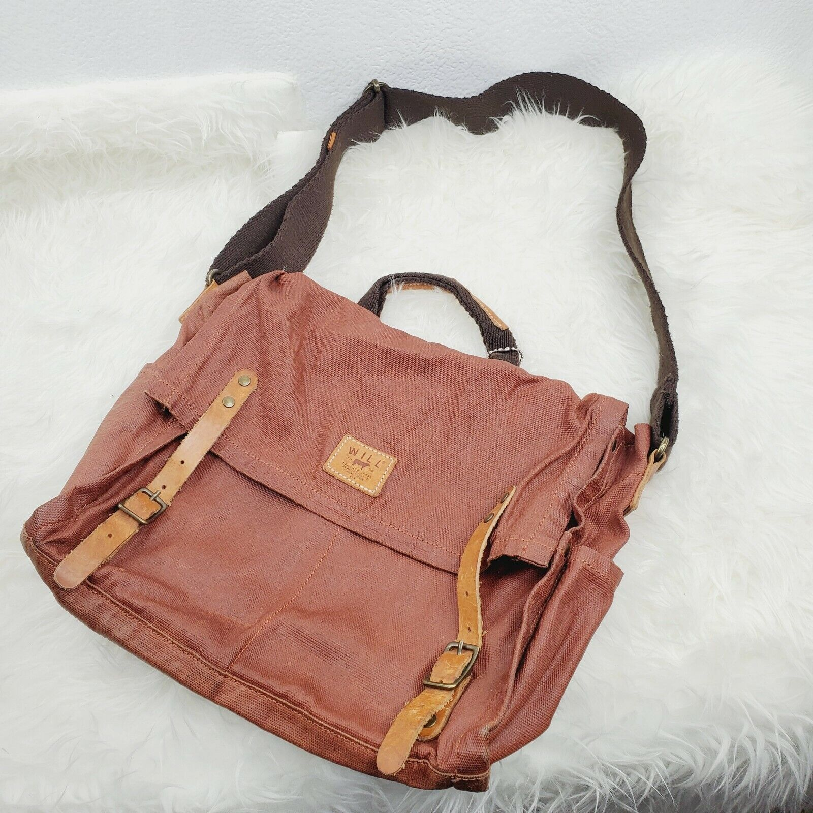 WILL Leather Good Canvas Messenger Bags Adjustable