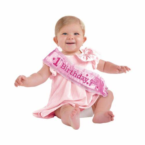 1st Compleanno 1 UNA FUSCIACCA IN TESSUTO ROSA 37cm x 9.5cm Baby Ragazze Festa Accessorio