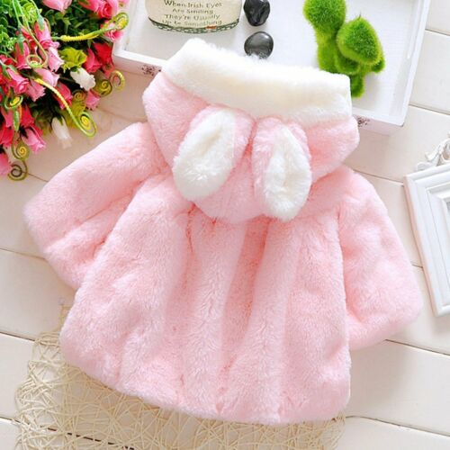 2017 Autumn Winter Baby Infant Girls Fur Thickened Warm Coat With Hat YK