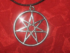 SILVER TONE 25mm SEVEN POINTED FAIRY STAR  HEPTAGRAM SEPTAGRAM WICCAN PENDANT