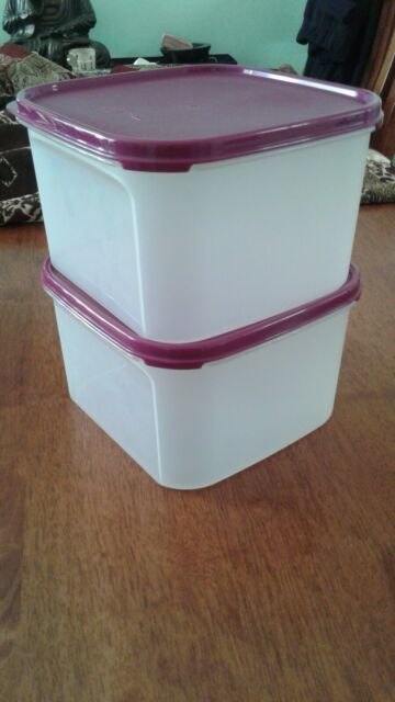Tupperware square modular mate #2, set of two with rhubarb lids