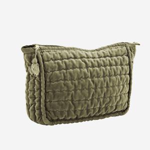 Light Jade Quilted Velvet Wash Bag w// Tassel Grey Green Toiletries Makeup 23cm