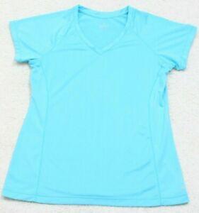 Jockey-Blue-Athletic-T-Shirt-Tee-Top-Medium-Solid-V-Neck-Polyester-Short-Sleeve
