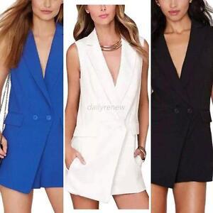 6ea371db984e V-Neck Elegant Tuxedo Blazer Romper Womens Jumpsuit Playsuits Shorts ...