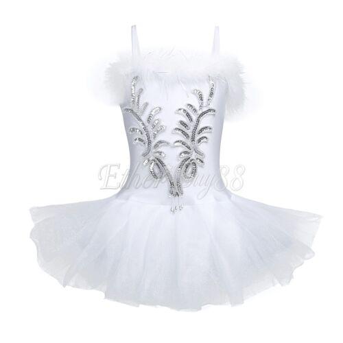Kid Girl Ballet Gymnastics Dancewear Gauze Skirt Tutu Swan Lake Leotard Dress