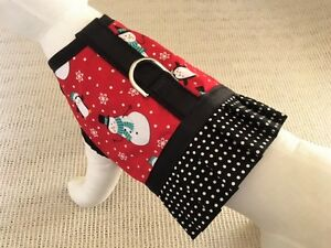 Holiday-Winter-Snowman-And-Penguin-Dog-Harness-Vest-With-Ruffle-Skirt
