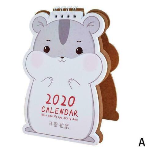 Cartoon Animal Hamster Cat Calendar Shaped Pla H8G6 2019-2020 Desktop Calendar