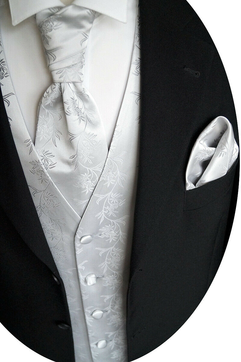 Wedding Waistcoat With Plastron,Handkerchief And Tie No. 5.2 Size 44-62 & 90-114