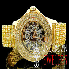 Mens Real Diamond Yellow Canary JoJino/Joe Rodeo 2 Row Bezel Custom Band Watch