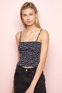 afff10db6ca Image is loading New-Brandy-Melville-navy-blue-white-floral-smocked-