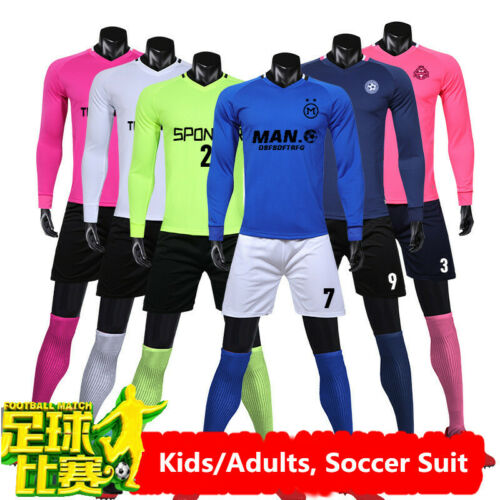 kids//Adult Soccer Jersey DIY Customize Long sleeve match training football suit