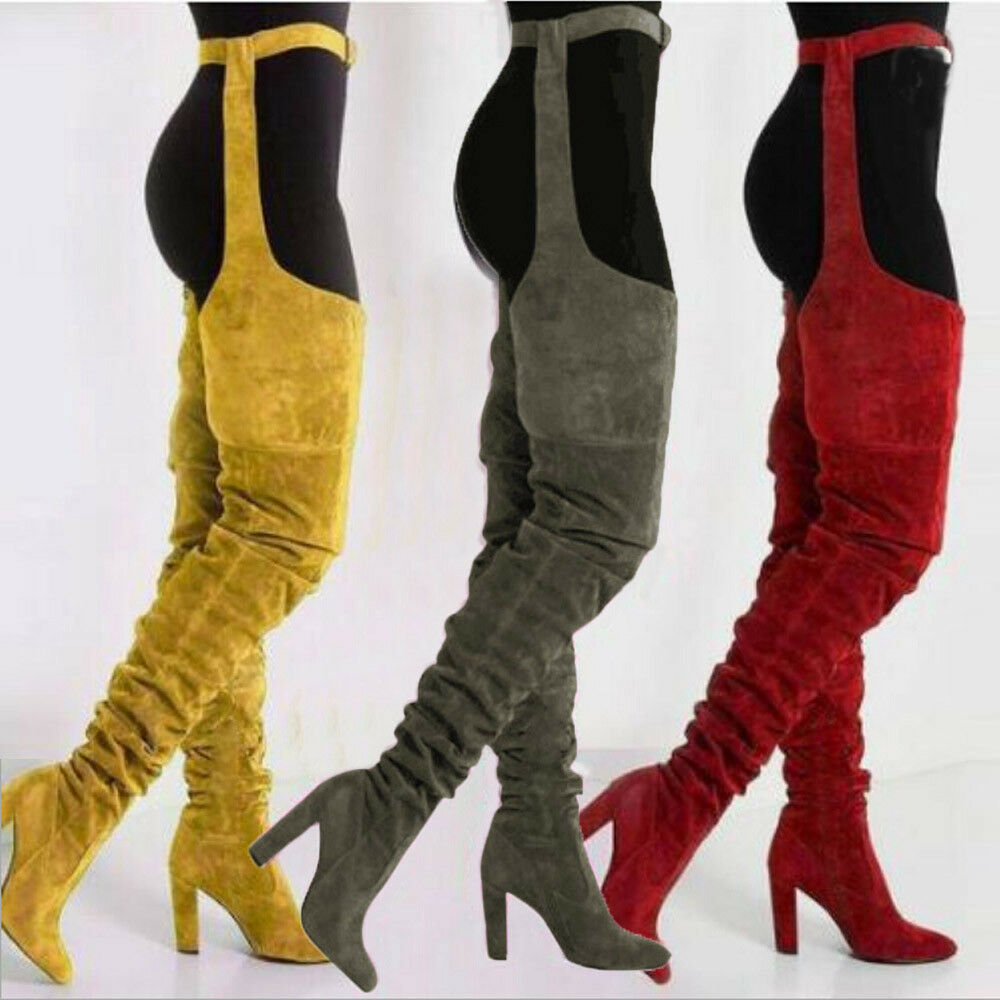 Women Over Knee Pointed Belt Thigh High Boots High Heels Long Trendy Boots Bt15