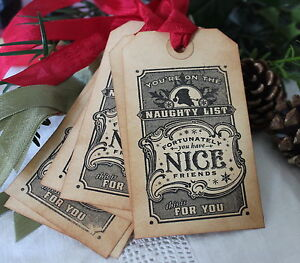 Details About Naughty Nice Friends Christmas Gift Tags Vintage Style Set Of 6 Handmade Unique