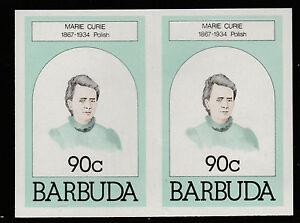 Barbuda (621) 1981 Marie Curie 90c IMPERF PAIR u/m