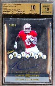 Falcons-10-BGS-Pristine-10-Auto-Rc-Gold-Tevin-Coleman-Rookie-Signed-Autograph