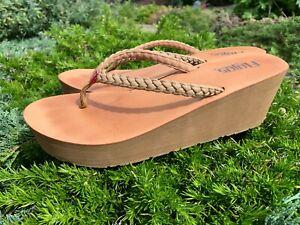 Women-039-s-Flip-Flop-thong-sandal-Wedge-shoes-size-8-US-Hayley-Flojos-tan-camel