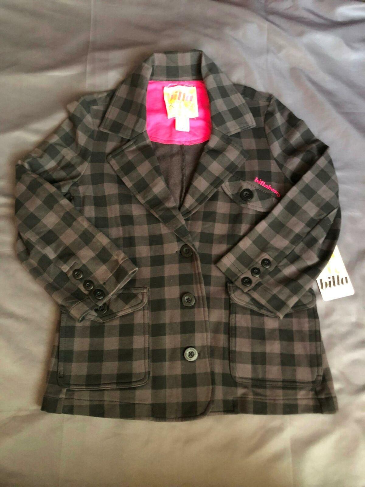 Billabong Junior Black & Grey Checkered Blazer Size Medium NEW jl