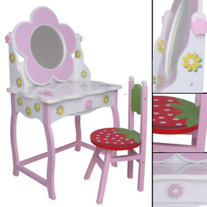 kinder schminktisch 264 blumen rosa gr n wei rot spiegel. Black Bedroom Furniture Sets. Home Design Ideas