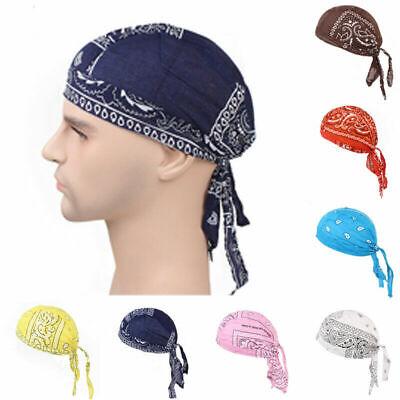 Fashion Unisex Men Women Headwear Headband Soft Silk Pirate Cap Solid Color