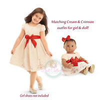 American Girl Cl Bitty Baby Duo Cream & Crimson Dress 7 Xl For Girl & Doll