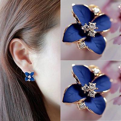 Fashion Elegant Women Cute Blue Flower Camellia Charm Crystal Ear Stud Earrings