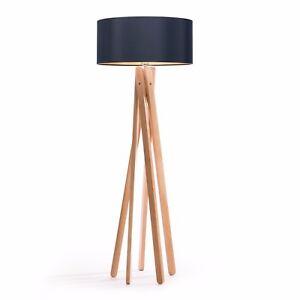 Das Bild Wird Geladen Tripod Stehleuchte  Schwarz Gold Holz Stativ Design Stehlampe