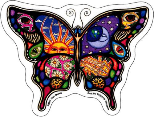 Decal 40087 Dan Morris Butterfly Day Night Sun Moon Eyes Stars Flower Sticker
