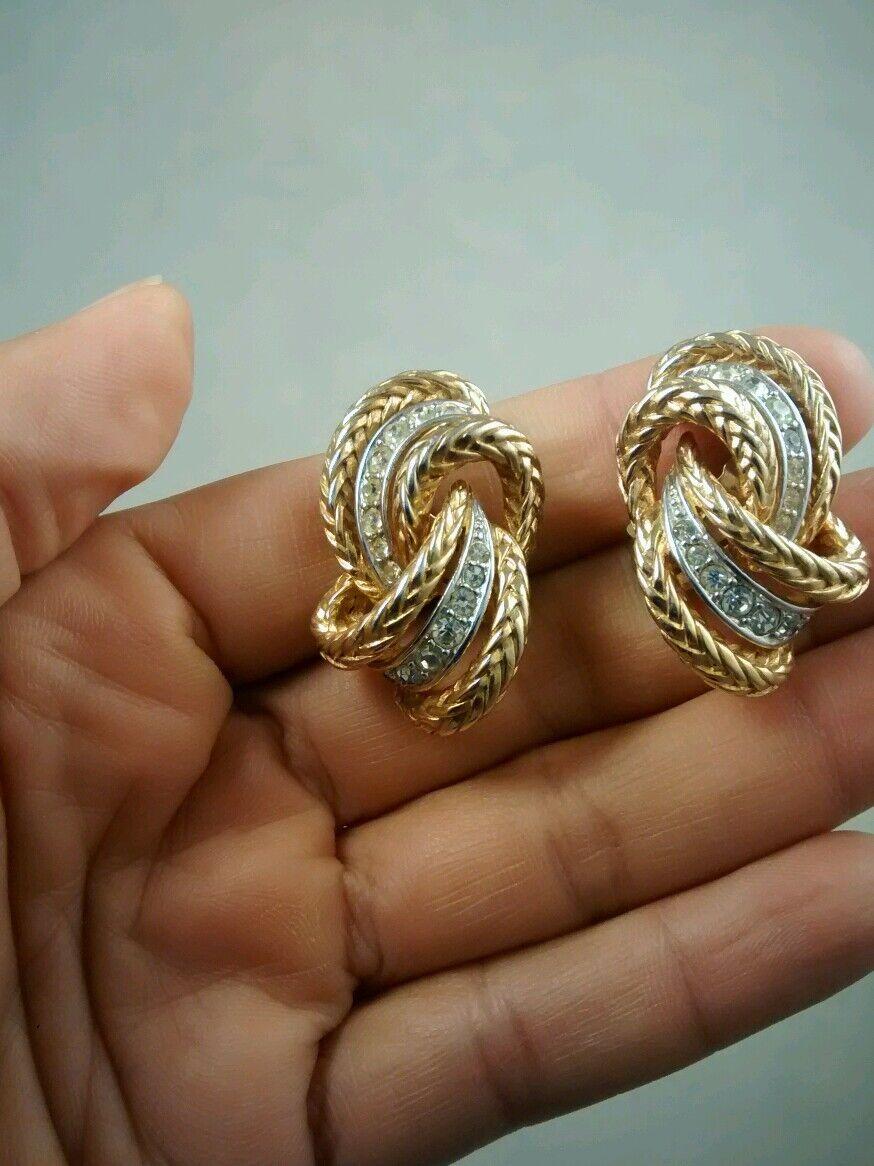 Pretty  vintage  Boucher retro faux diamond gold tone clip on earrings