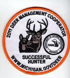 2011-MICHIGAN-DNR-SUCCESSFUL-DEER-HUNTER-PATCH-BEAR-TURKEY-ELK-MOOSE-FISHING