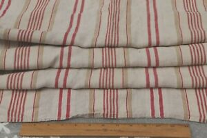 Antique-French-Red-amp-Tan-Linen-Ticking-Stripe-Fabric-L-49-034-X-W-49-034