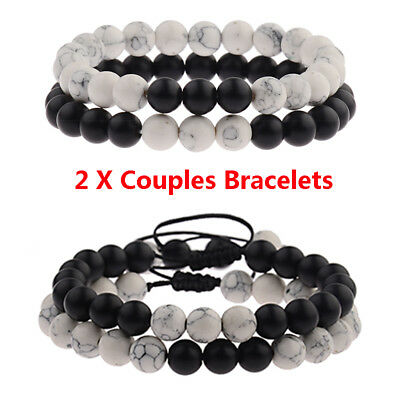 Fashion 8mm Moonstone Beads Couple His And Hers Distance Bracelets Set Gift